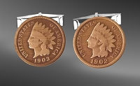 Indian Head Penny Sterling Silver Cuff Links CL5-IP9