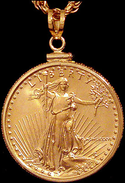 25 Dollar Gold Eagle Coin Pendant Pcm8 25e