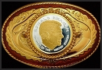 Ronald Reagan Medallion Carson City Belt Buckle BB-CC-WRR12