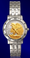 Walking Eagle Half Dollar Mens Bracelet Coin Watch C115-WE2-1