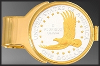 Eagle Dollar Gold Plated Money Clip C273-ED2