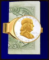 Ben Franklin Half Dollar Gold Plated Money Clip C303-BF2