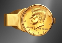 JFK Half Dollar Gold Plated Money Clip C303-JFK3