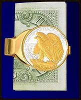 Walking Liberty (Eagle) Gold Plated Money Clip C303-WE2