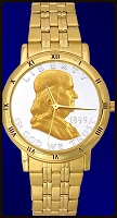 Ben Franklin Half Dollar Mens Bracelet Coin Watch C335-BF2-3