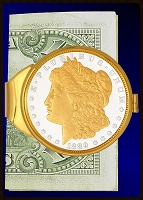 Morgan Dollar Gold Plated Money Clip C383-MD2
