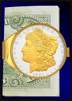 1921 Morgan Dollar Gold Plated Money Clip C383-MO2
