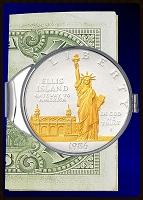 Statue of Liberty Commemorative Dollar Nickel Money Clip C387-SLD2