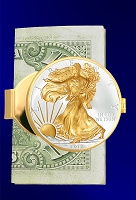 Silver Eagle Dollar Gold Plated Money Clip C403-SE2