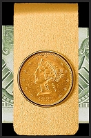 5 Dollar Liberty Gold Coin 14K Solid Gold Money Clip CBR8-5L