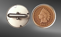 Indian Head Penny Sterling Silver Cuff Links CLB52-IP