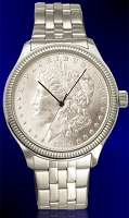 Morgan Silver Dollar Mens Coin Watch With Uncirculated Coin and Stainless Steel Bracelet