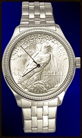 Peace Silver Dollar Eagle Mens Coin Watch With Stainless Steel Bracelet DS111-PE1-1
