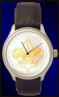 Boy Scouts of America Commemorative Silver Dollar Mens Leather Coin Watch  TwoTone Coin DS111-BSA2-5