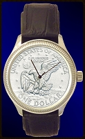 Apollo Landing Dollar Mens Coin Watch With Uncirculated Coin and Leather Strap DS111-LD1-5