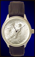 Peace Eagle Silver Dollar Mens Coin Watch with Leather Strap