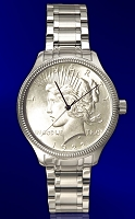 Peace Silver Dollar Mens Coin Watch With Uncirculated Coin and Stainless Steel Luxury Bracelet DS111-PD1-1LX