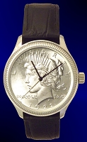 Peace Silver Dollar Liberty Coin Watch with Leather Strap