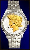 Peace Silver Dollar Mens Coin Watch With AureTone Coin and Stainless Steel Bracelet