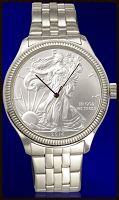 Silver Eagle Dollar Mens Coin Bracelet Watch With Uncirculated Bullion Coin