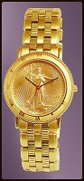 Coinwatch Brand Mens Solid Gold Eagle Coin Watch UC333-AE25-3