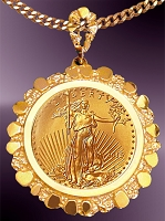Gold Nugget $10 Gold Eagle Coin Necklace NNG8-10E-20E8