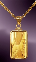 PAMP Horse 5g .999 Fine Gold Bar Necklace NCM8-H058-20B8