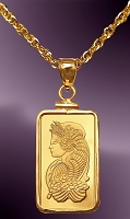 PAMP Fortuna 5g .999 Fine Gold Bar Pendant PCM8-F058