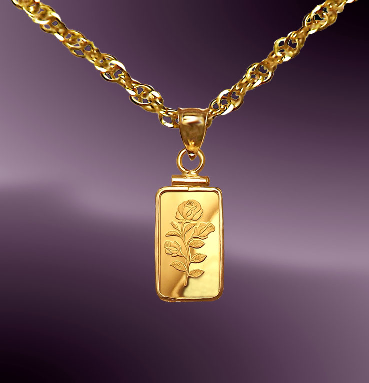 Pamp rosa 1g 9999 fine gold bar necklace npcm8 r018 20b8 aloadofball Image collections
