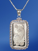 PAMP Fortuna 20g Fine Proof Silver Bar Necklace NPRR5-F20-28DC5