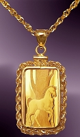 PAMP Horse 5g .999 Fine Gold Bar Necklace NRR8-H058-20B8