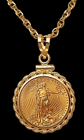 5 Dollar Gold Eagle Rope Necklace NRM8-5E-20B8