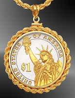 Statue of Liberty Dollar French Rope Necklace NRR6-PSL2-24D3