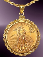25 Dollar Gold Eagle Coin Necklace NRR8-25E-24C8