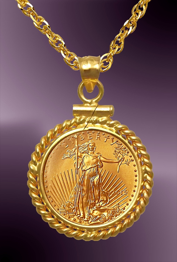 gold pnd charm yellow pendant one diamond lady ounce coin solid liberty