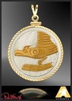 Diamond Cut Goldtone Native American Style Pendant PDC3-NWWEA2