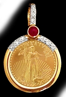 Diamond and Ruby US Gold Eagle Necklace NDR8-5E-20E8