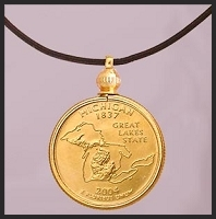 Susan B. Anthony Dollar Pendant & Lanyard Necklace PL283-SBA3-28L