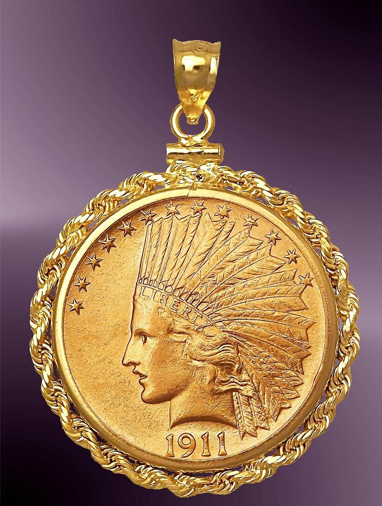 10 Dollar Indian Head Gold Coin Pendant PRR8-DE10