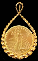 5 Dollar Gold Eagle14K Teardrop Necklace NTR8-5E-20E8