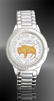 "American Bison ""Golden Anniversary"" Commemorative Half Dollar Mens Bracelet Coin Watch R111-NBU2-1"