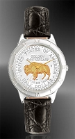 "American Bison ""Golden Anniversary"" Commemorative Half Dollar Mens Strap Coin Watch R111-NBU2-0"