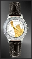 Statue of Liberty Dollar Mens Leather Coin Watch R111-PSL2-0