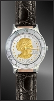 Susan B. Anthony Dollar Ladies Leather Coin Watch R111-SBA2-L0