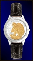 Walking Eagle Half Dollar Mens Strap Coin Watch R111-WE2-0