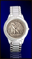 Walking Eagle Half Dollar Mens Bracelet Coin Watch R111-WE9-1