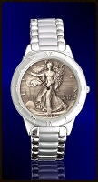 Walking Liberty Antiqued Half Dollar Mens Bracelet Coin Watch R111-WL9-1