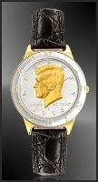 JFK Half Dollar Mens Leather Coin Watch R323-JFK2-0