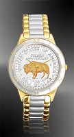 "American Bison ""Golden Anniversary"" Commemorative Half Dollar Mens Bracelet Coin Watch R323-NBU2-2"