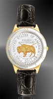 "American Bison ""Golden Anniversary"" Commemorative Half Dollar Mens Strap Coin Watch R323-NBU2-0"